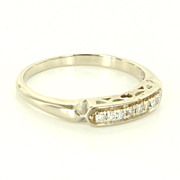 Vintage 14 Karat White Gold Diamond Wedding Stack Band Ring Fine Estate Jewelry
