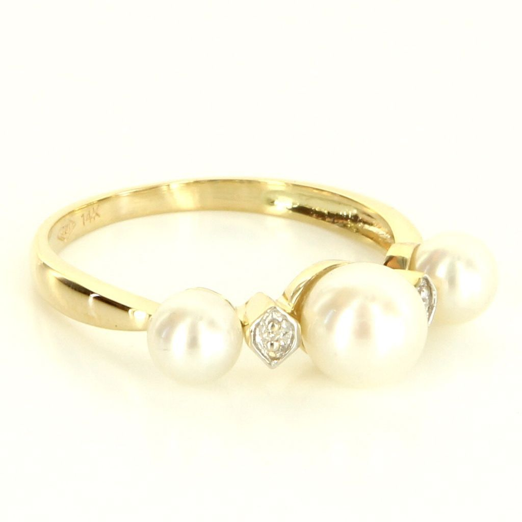 Estate 14 Karat Yellow Gold Diamond Cultured Pearl Stack Band Ring Fine Jewelry