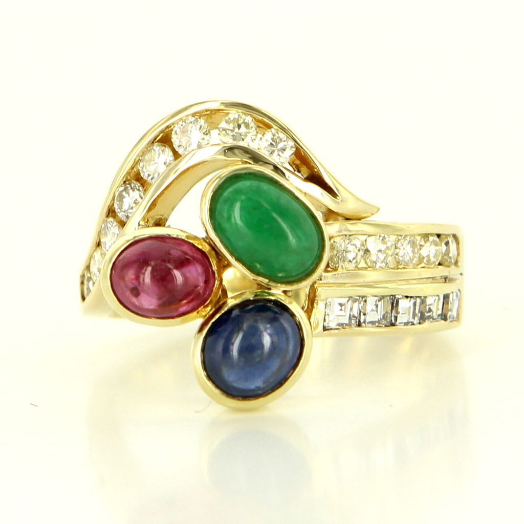 Vintage 14 Karat Yellow Gold Diamond Natural Sapphire Ruby Emerald Cocktail Ring