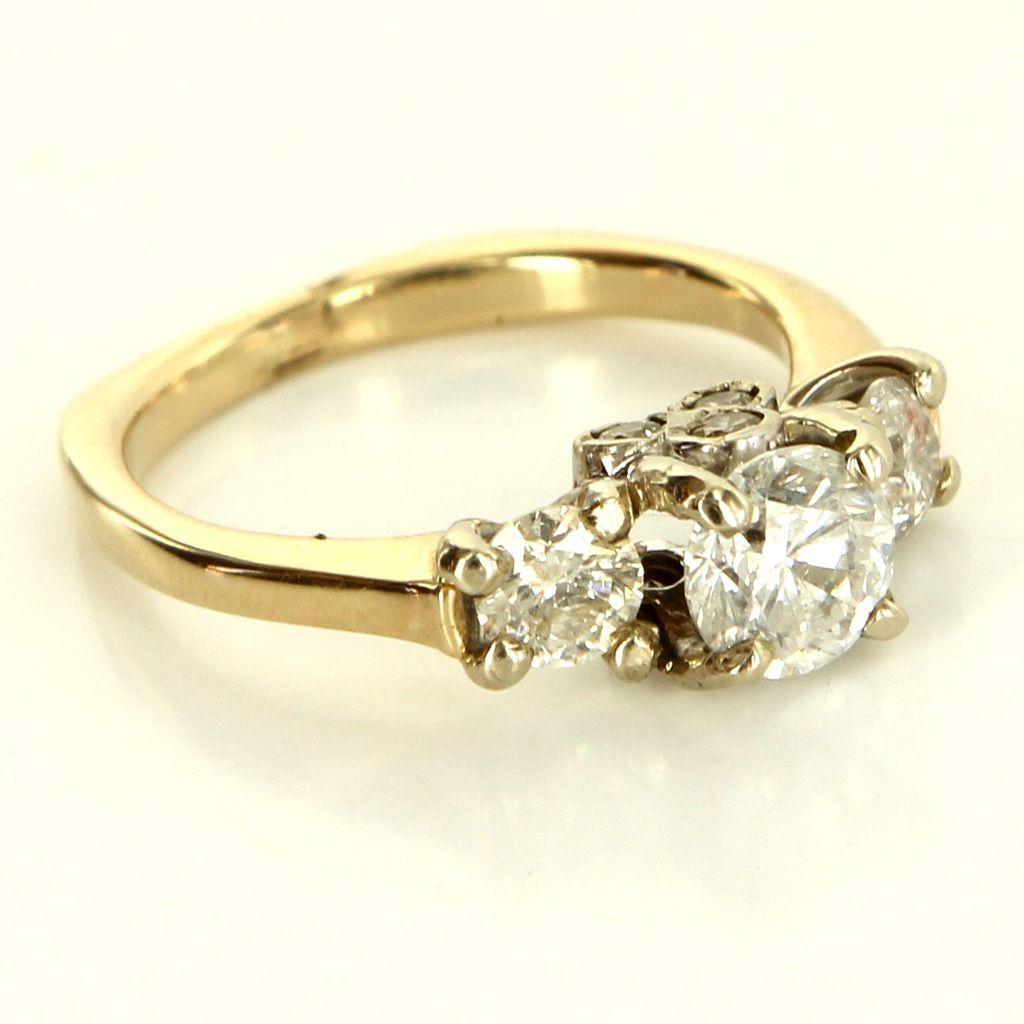 Vintage 14 Karat Yellow White Gold Diamond Trilogy Anniversary Ring Fine Jewelry