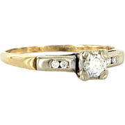 Vintage 14 Karat Two Tone Gold Diamond Engagement Right Hand Ring Estate Jewelry