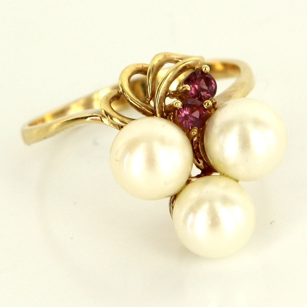 Vintage 14 Karat Yellow Gold Cultured Pearl Ruby Cocktail Ring Fine Jewelry Used