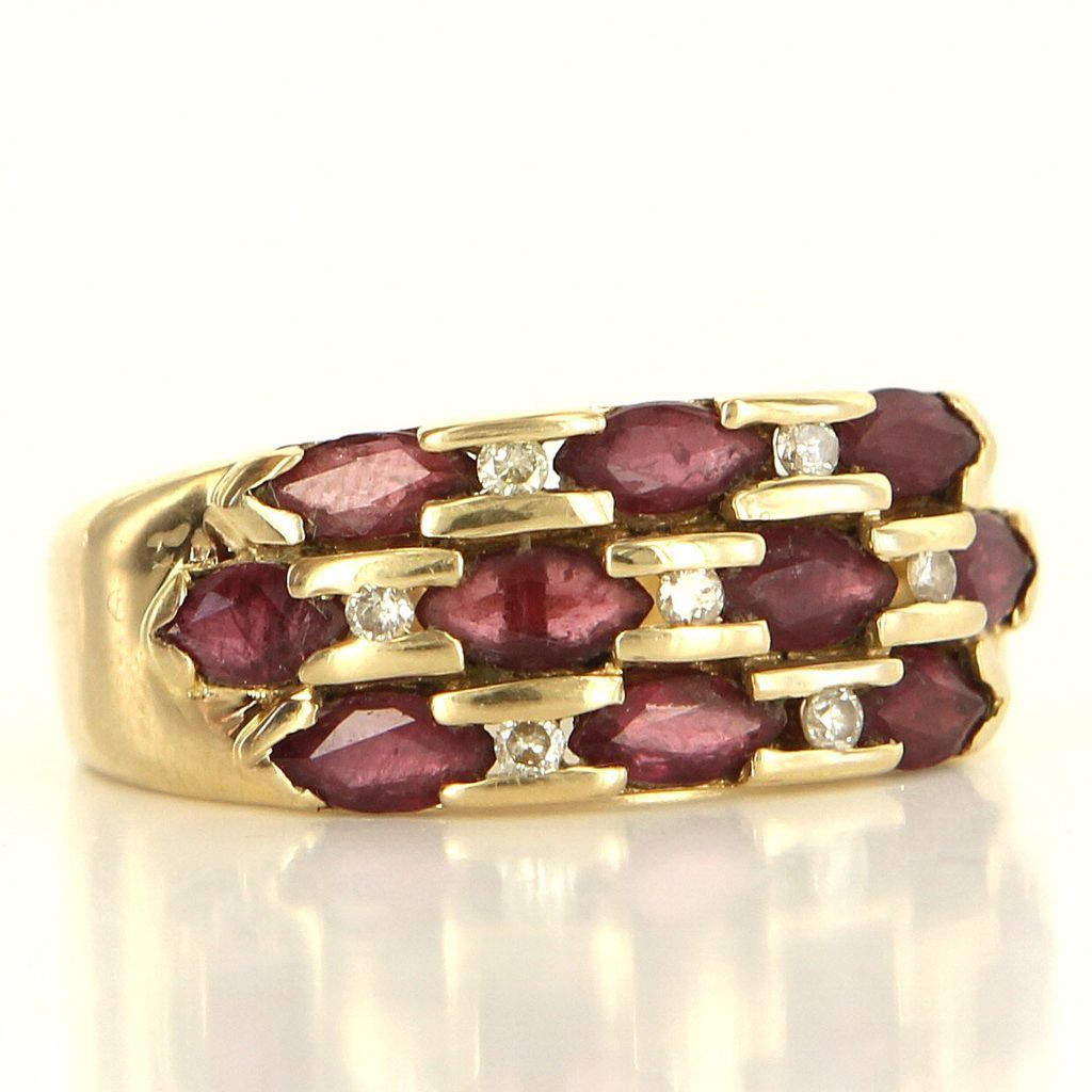 Estate 14 Karat Yellow Gold Ruby Diamond Stack Band Ring Fine Jewelry Pre-Owned