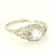 Art Deco 14 Karat White Gold Diamond Engagement Ring Fine Jewelry Estate