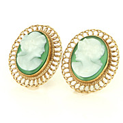 Vintage 14 Karat Yellow Gold Agate Cameo Cocktail Earrings Fine Estate Jewelry