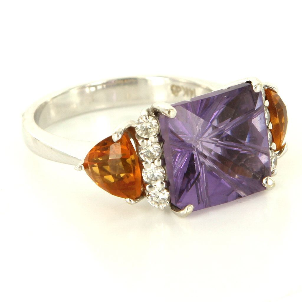 Estate 14 Karat White Gold Amethyst Citrine Diamond Cocktail Ring Fine Jewelry