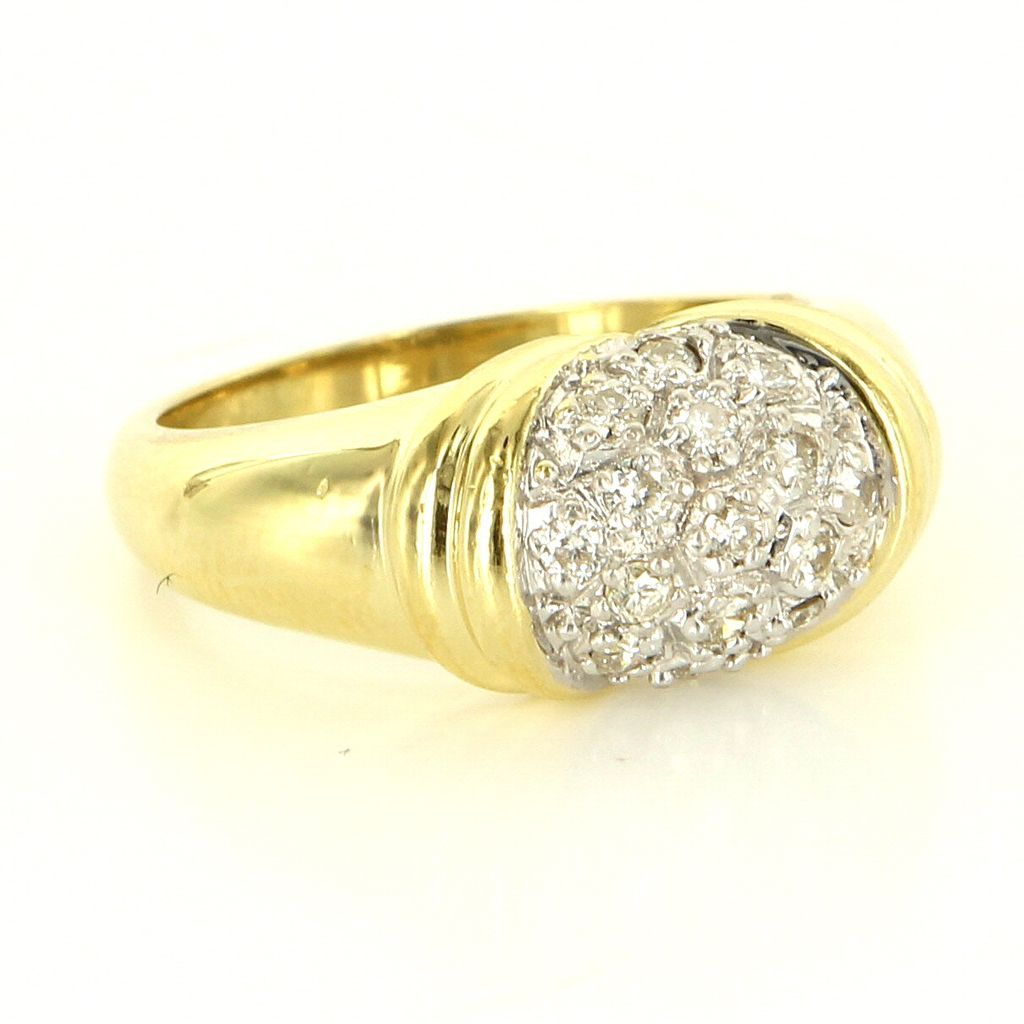 Estate 18 Karat Yellow Gold Diamond Dome Cocktail Ring Fine Jewelry Pre-Owned