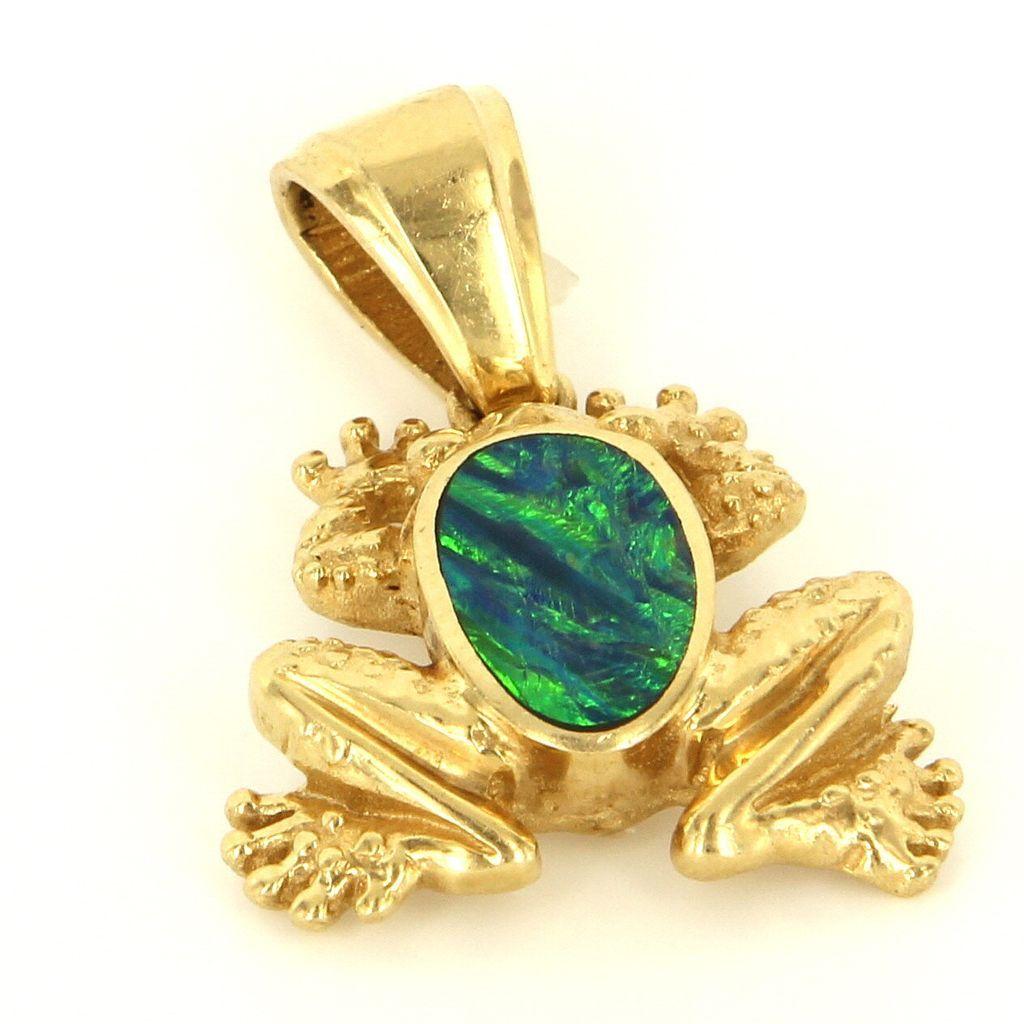 Estate 14 Karat Yellow Gold Black Opal Doublet Frog Pendant Fine Jewelry