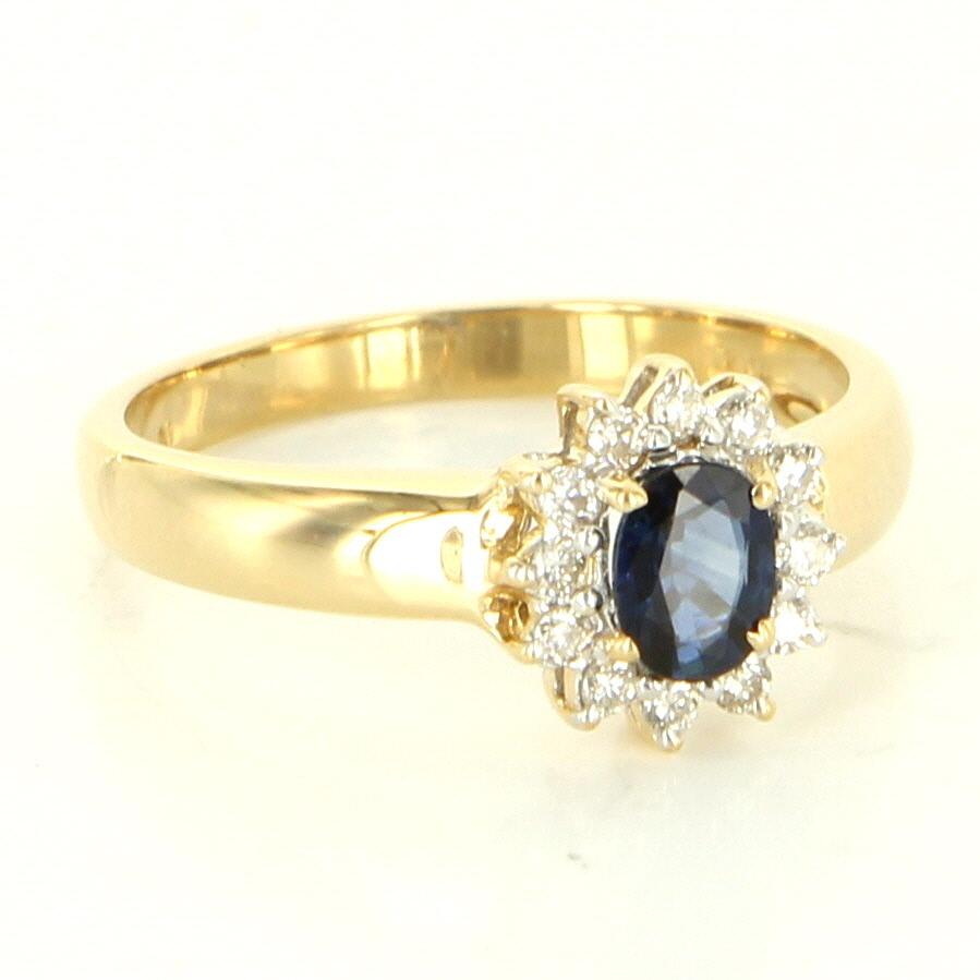 Estate 14 Karat Yellow Gold Diamond Sapphire Small Princess Ring Fine Jewelry