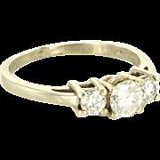 Vintage 14 Karat White Gold Diamond Trilogy Anniversary Ring Fine Estate Jewelry