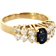 Estate 14 Karat Yellow Gold Sapphire Diamond Cocktail Ring Fine Jewelry