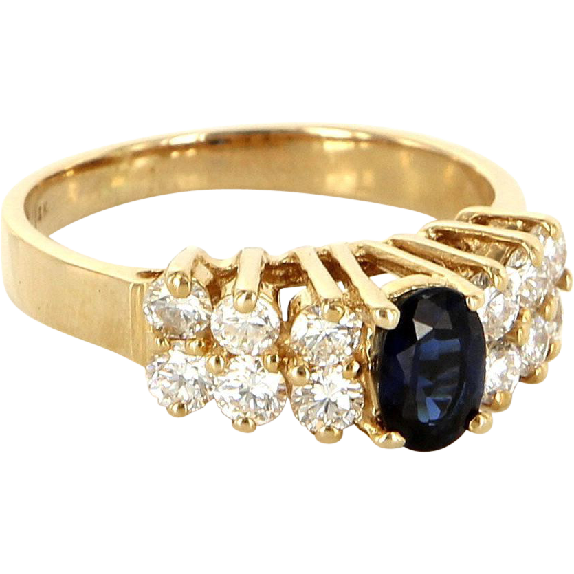 Estate 14 Karat Yellow Gold Sapphire Diamond Cocktail Ring Fine Jewelry