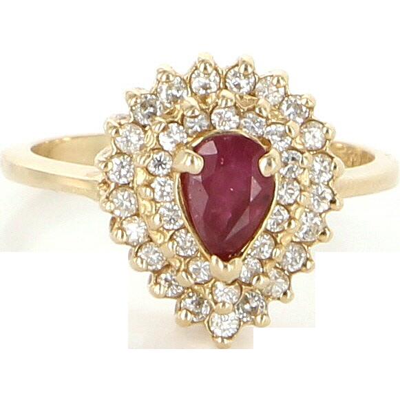 Vintage 14 Karat Yellow Gold Diamond Ruby Princess Cocktail Ring Fine Jewelry