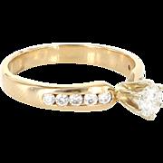 Vintage 14 Karat Yellow Gold Diamond Engagement Right Hand Ring Bridal Jewelry