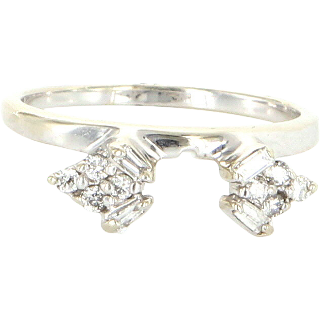 Vintage 14 Karat White Gold Diamond Wedding Ring Guard Wrap Fine Estate Jewelry
