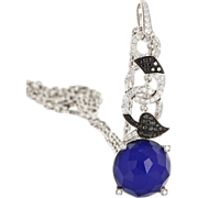 Estate Designer Stephen Webster 18 Karat White Gold Diamond Agate Necklace