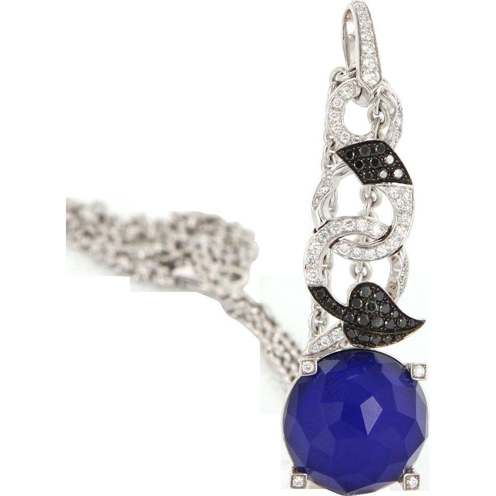 Estate Designer Stephen Webster 18 Karat White Gold Diamond Agate Necklace