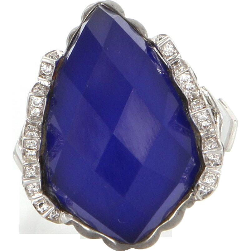 Estate Designer Stephen Webster 18 Karat White Gold Diamond Agate Sapphire Ring