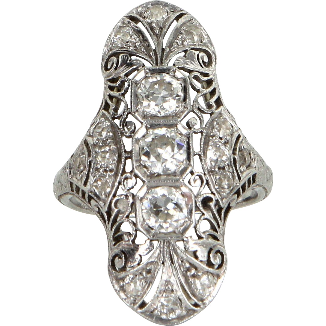 Vintage Art Deco 900 Platinum Diamond Filigree Cocktail Ring Fine Estate Jewelry