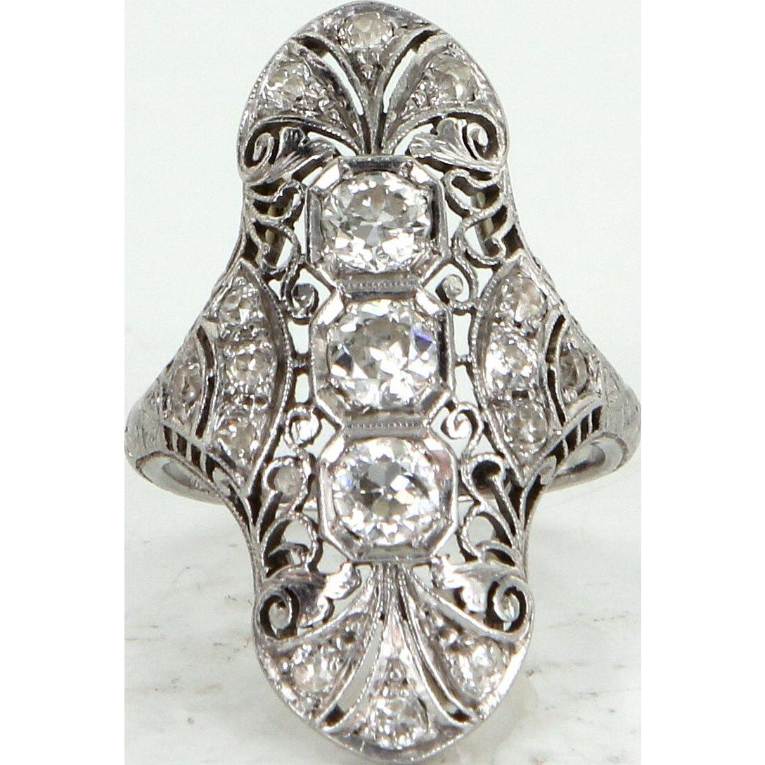 Vintage Art Deco 900 Platinum Diamond Filigree Cocktail Ring Fine Estate Jewelry