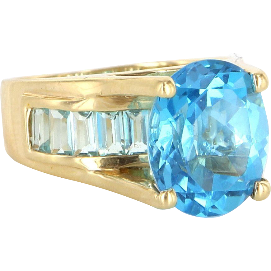 Estate 14 Karat Yellow Gold Blue Topaz Cocktail Ring Fine Jewelry Pre-Owned