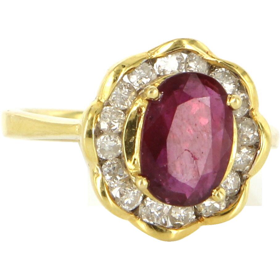 Estate 18 Karat Yellow Gold Ruby Diamond Cocktail Ring Fine Jewelry