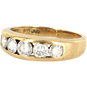 Estate 14 Karat Yellow Gold Diamond Pinky Stack Band Ring Fine Jewelry