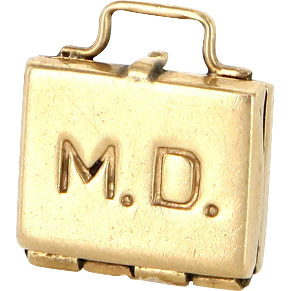 Vintage 14 Karat Yellow Gold MD Doctor Baby Case Pendant Charm Fine Jewelry