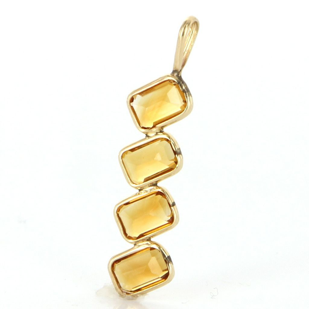 Estate 14 karat yellow gold citrine drop pendant fine for 14 karats fine jewelry