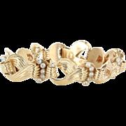 Vintage 14 Karat Yellow Gold Cultured Pearl Cocktail Bracelet Fine Jewelry