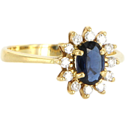 Vintage 18 Karat yellow Gold Diamond Sapphire Princess Cocktail Ring Estate