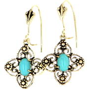 Vintage 14 Karat Yellow Gold Turquoise Drop Dangle Earrings Fine Estate Jewelry