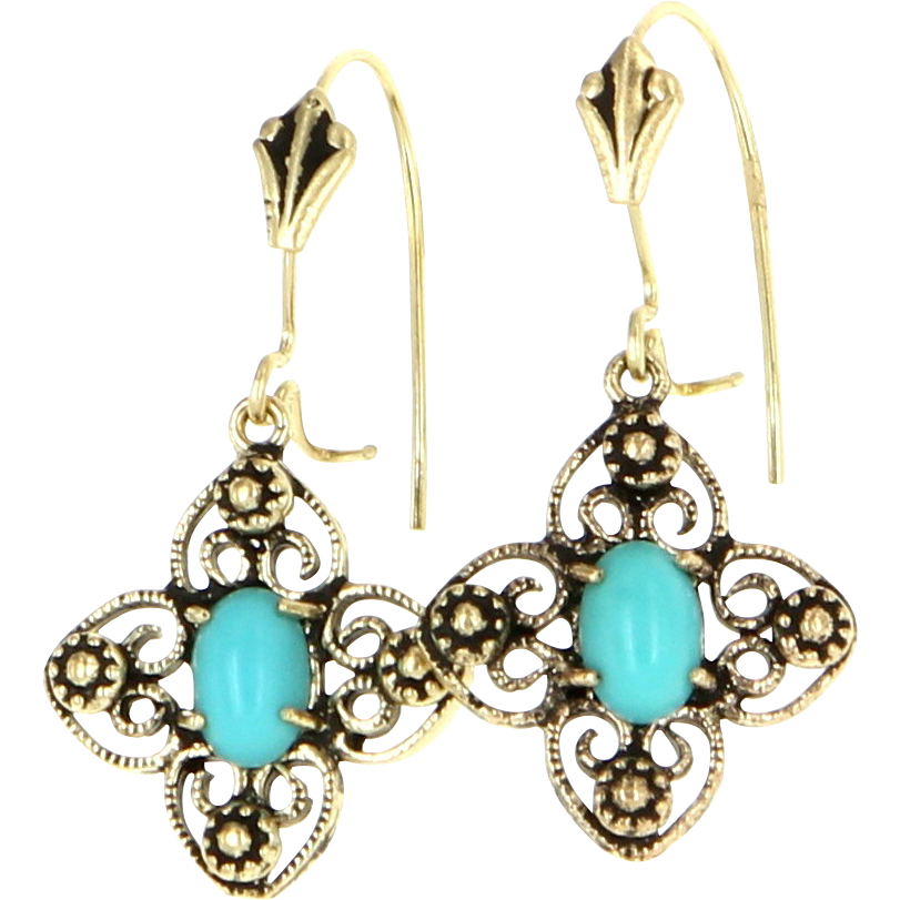 Vintage 14 Karat Yellow Gold Turquoise Drop Dangle Earrings Fine Estate Jewelry