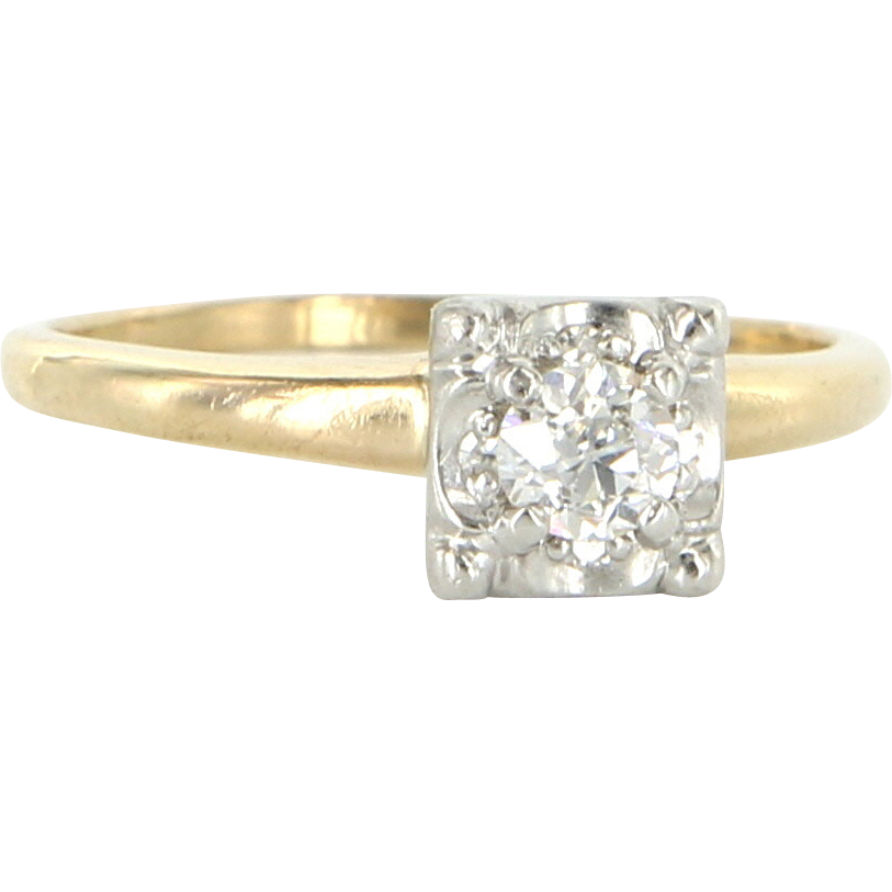 Vintage 14 Karat Yellow Gold Diamond Engagement Ring Fine Estate from preciou