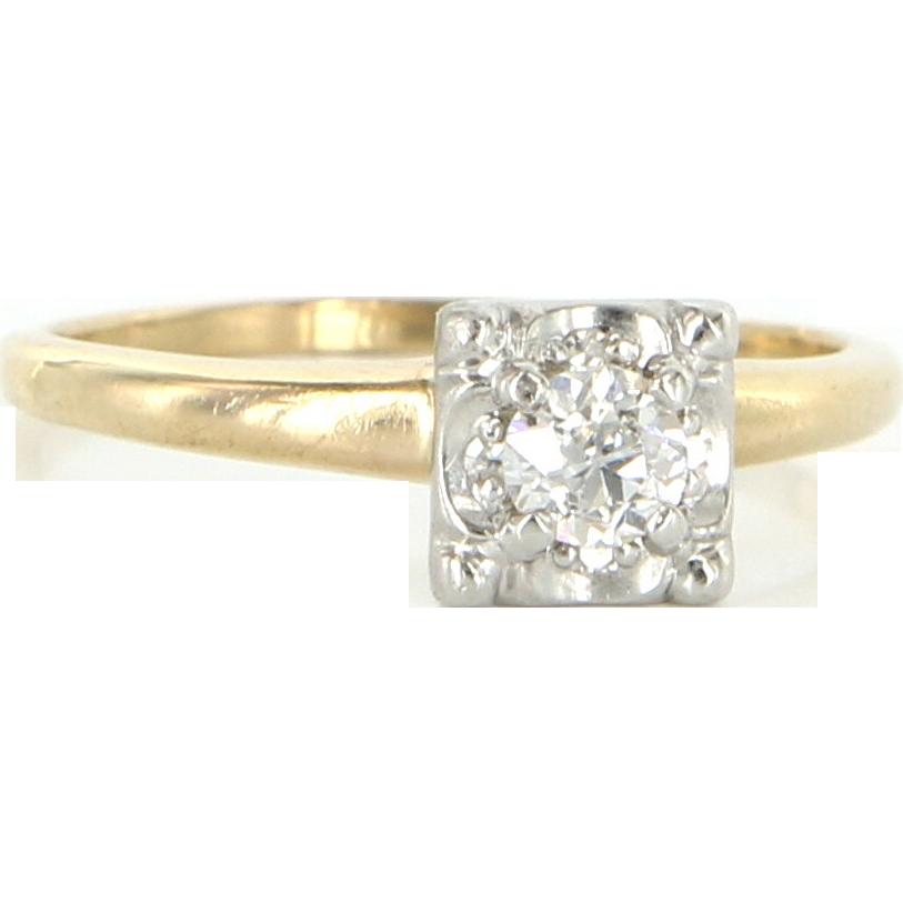 Vintage 14 Karat Yellow Gold Diamond Engagement Ring Fine Estate Jewelry