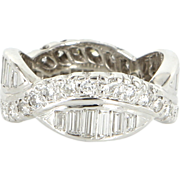 Vintage 18 Karat White Gold Diamond Wedding Stack Band Ring Fine Estate Jewelry