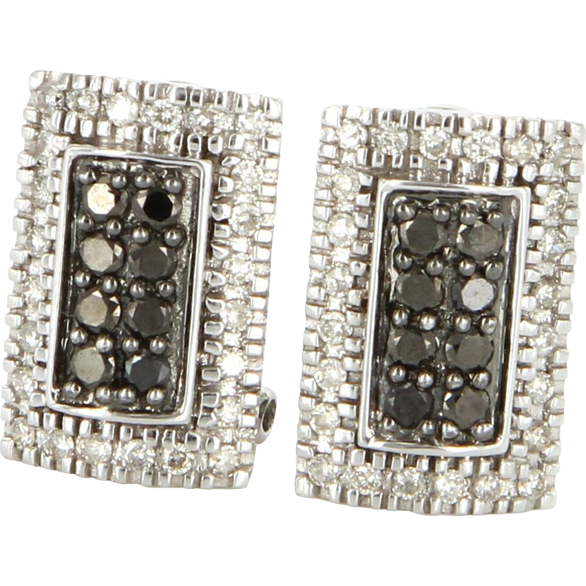 Estate 14 Karat White Gold Black White Diamond Cocktail Earrings Fine Jewelry