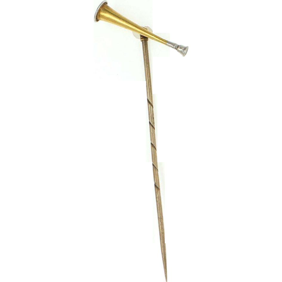 Art Deco 15 Carat Yellow Gold Platinum 900 Hunting Horn Stick Pin Vintage Estate