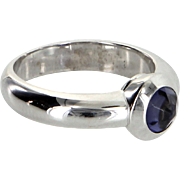 Tiffany & Co Iolite Bullet Ring Estate 18 Karat White Gold Designer Pre Owned France