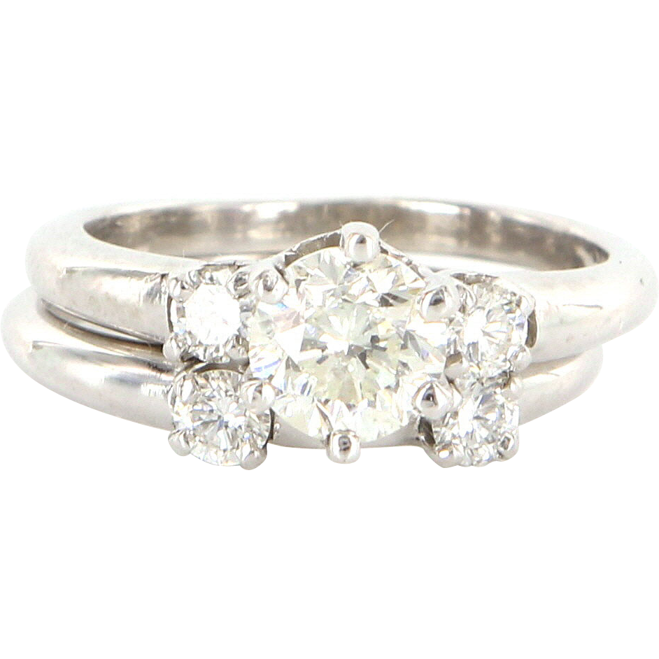 Vintage Platinum Diamond Wedding Ring Band Set Fine Bridal Jewelry Estate