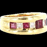 Estate 18 Karat Yellow Gold Diamond Ruby Cocktail Band Ring Fine Jewelry