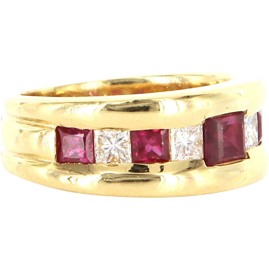 Estate 18 Karat Yellow Gold Diamond Ruby Cocktail Band Ring Fine Jewelry