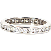 Estate 18 Karat White Gold Diamond Eternity Stack Ring Wedding Band Size 5.5