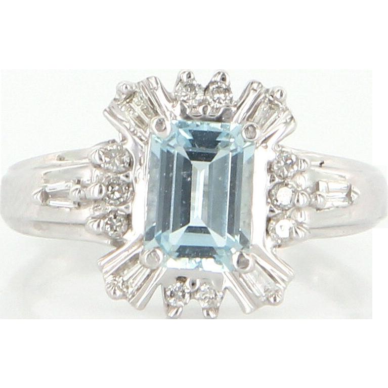 Estate 14 karat white gold diamond aquamarine cocktail for 14 karats fine jewelry