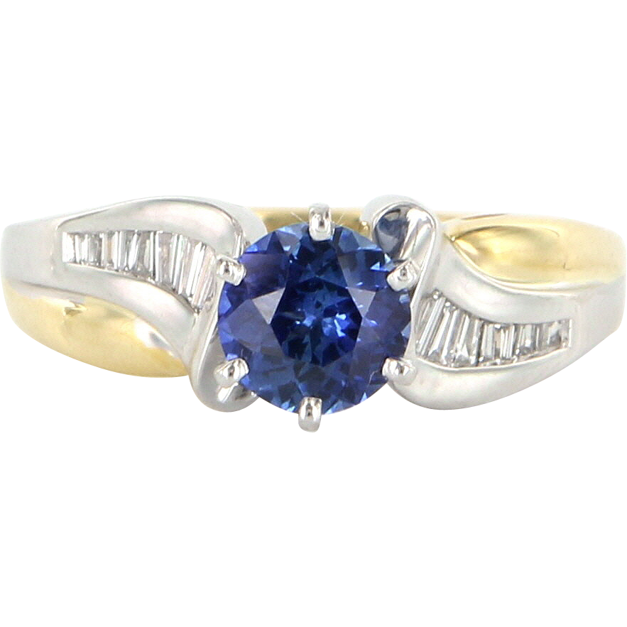 Vintage 18 Karat Yellow White Gold Diamond Sapphire Right Hand Ring Estate