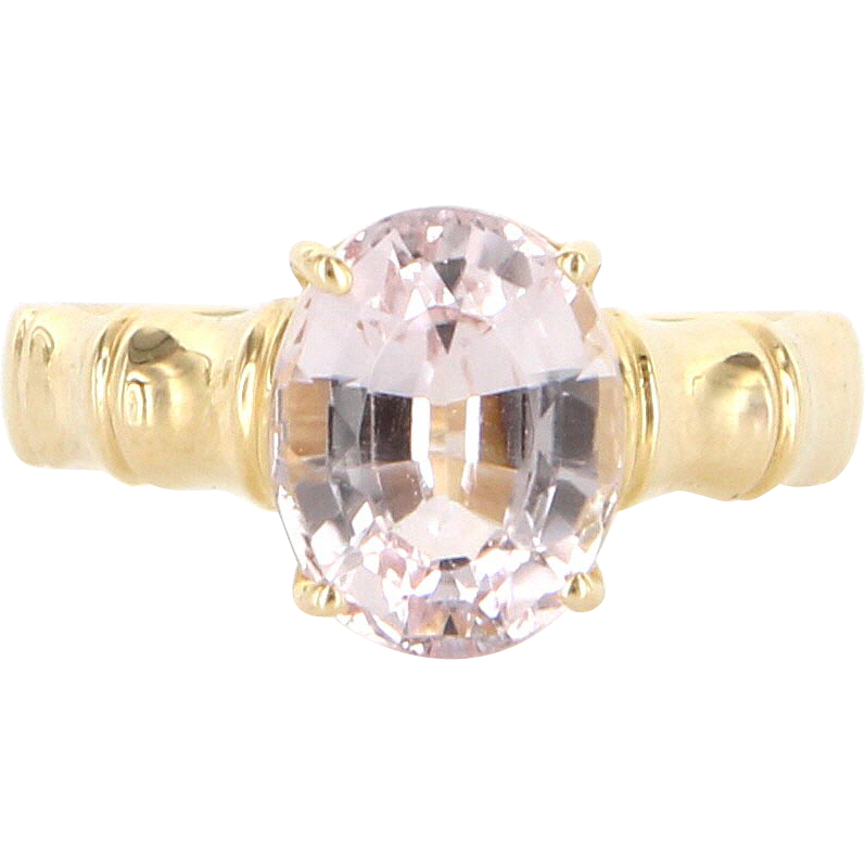 Estate 14 Karat Yellow Gold Kunzite Bamboo Cocktail Ring Fine Jewelry Pre-Owned