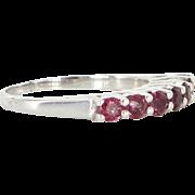 Ruby Anniversary Band Ring Vintage 18 Karat White Gold Estate Fine Jewelry Heirloom