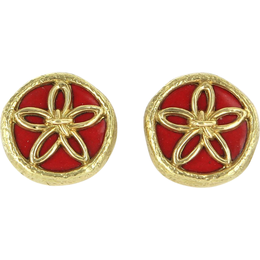 Vintage Tiffany & Co Schlumberger Enamel 18 Karat Yellow Gold Flower Clip Earrings Designer Jewelry