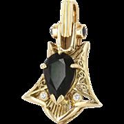 Mid Century Vintage 14 Karat Yellow Gold Green Tourmaline Sapphire Pendant