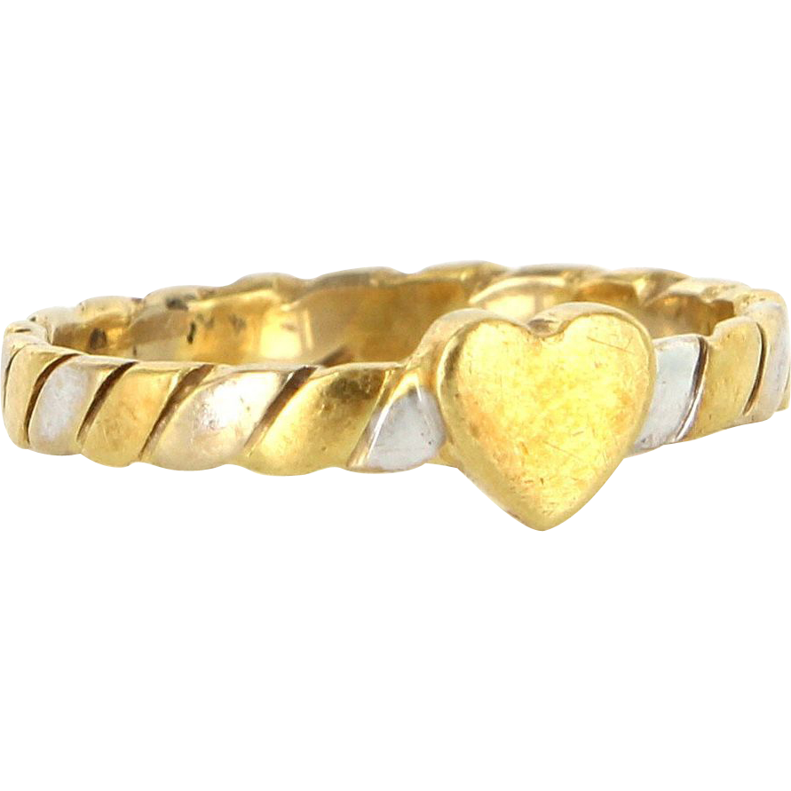 Estate Designer Gucci 18 Karat Yellow White Gold Heart Stack Band Ring Sz. 6